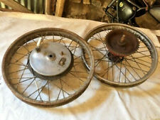 Pair of Norton ES2 wheels inc Front Brake Plate and hubs