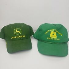 Two John Deere Hats Adjustable Strap Back Snap Back Trucker EUC
