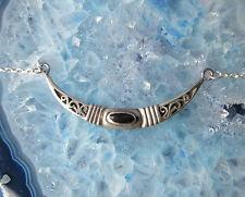 Collar Plata 925 y ÓNIX NEGRO luna luna Ornamento Art Nouveau