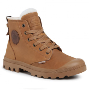Palladium Pampa Hi Pilot Womens UK 5 EU 38 Mahogany Brown Fur Lined Ankle Boots