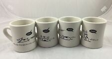 Bad Dog Diner Mugs Set of 4 Heavy Duty M-Ware SIT STAY COME FETCH Funny Humor