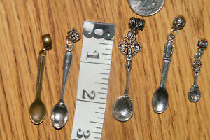 5 Count SPOONS SILVER BRONZE Mini Utensils Cook Chefs w/Bails DIY Necklace NEW!