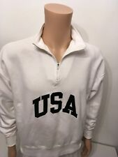Mens White Sweatshirt size Small 100% Cotton Zip Neck by Limited Elastic cuffs
