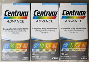 3 XCentrum Advance Multivitamins and Minerals tablet, 3 X 100 from A to Zinc NEW