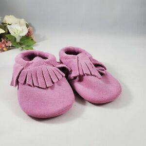 NEW! Toddler Pink Fringe Suede Leather Moccasins Walker Shoes Size 5 18-24 month