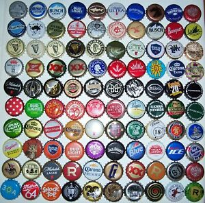 Lot of (100) different bottle caps,crowns,collection,mostly Beer,Craft,Brewery