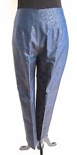 Collette Dinnigan Womens 100% Silk Pants with Embossed Blue | Black Design Sz XS