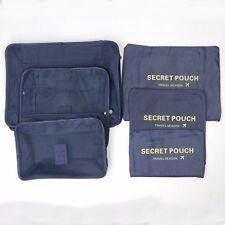 6 Piece Luggage Travel Storage Packing Bag Pouch Organizer Waterproof - Navy