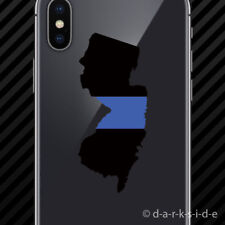 (2x) New Jersey State Shaped The Thin Blue Line Cell Phone Sticker Mobile police