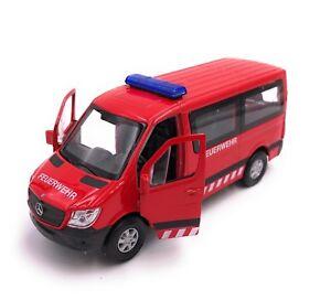 Mercedes Benz Sprinter Pompier Modèle Auto Rouge Produit sous Licence 1:3 4-1