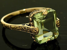 R299 Genuine 9ct SOLID Rose Gold Natural Green Amethyst Solitaire Ring size N