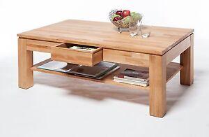 Couchtisch Kernbuche Tisch Massiv geölt 115 x 70 cm mit Schubkasten Wohnzimmer