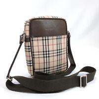 BURBERRY Shoulder Bag Vintage check Ikat nylon canvas/leather Brown Women