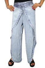 BOHEMIAN WRAP PANT STONEWASHED BLUE EMBROIDERED HIPPIE RAYON GYPSY BOHO TROUSER