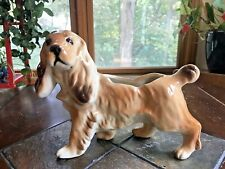 Vintage Cocker Spaniel Dog Ceramic Planter Brown Tan Large 11 X 8 Planter