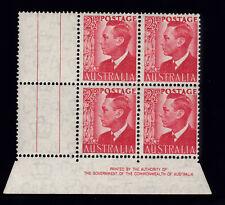 1950 KING GEORGE VI 2 1/2d IMPRINT GUTTER BLOCK 4 PRE-DECIMAL STAMPS MUH #G4