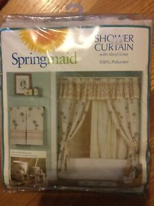 Springmaid Shower Curtain With Liner Tropical Palm Breeze Trees NEW