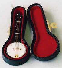 Banjo & case, Miniature Instrument Ideal for a Dolls House, String Musical Banjo