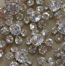 """12 silver metal Czech shank buttons larger & medium rhinestones 7/8"""" 23mm 278"""