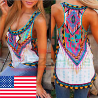 US Womens Boho Tank Top Vest Sleeveless Loose Summer Beach Casual T-Shirt Blouse
