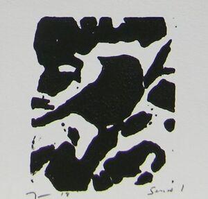 JOSE TRUJILLO - Woodcut Print Relief Prints ORIGINAL Modern Bird Art  - Series 1