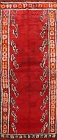 Semi Antique Authentic Moroccan Berber Runner Rug Vegetable Dye Handmade 5'x12'