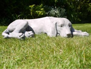 Laying Dog Statue Labrador Sculpture Puppy Ornament Garden Outdoor Indoor Grey