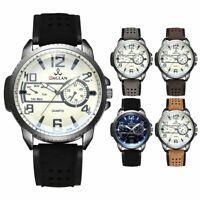 Men's Military Watch Date Leather Strap Army Sports Analog Quartz Wrist Watch