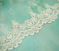 Embroidered Lace Trimming Bridal Trim Ivory Wedding Floral Lace Edging 1 Yard