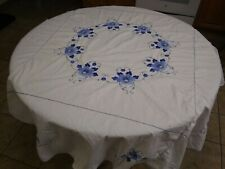 Vtg Lg Round Cotton Tablecloth-Adorned w/Hand Embroidery & Applique-Blue & White