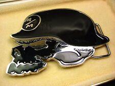 Silver & Black Enamel Biker Scull German Helmet M/M Bottle Opener Belt Buckle