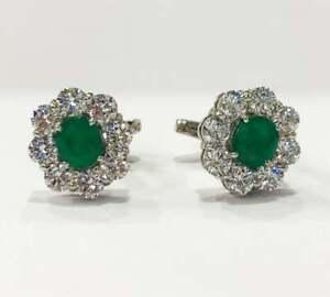 14k Solid White Gold Emerald Cufflink. Gemstone Cufflink, Handmade Cufflink