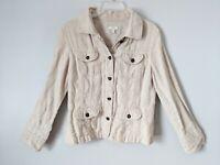 J.Jill 100% Linen Utility Style Top Jacket Button Front Oatmeal Womens Sm/Petite