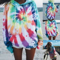 Women Loose Tie-Dye Printed Hoodies Pullover Casual Long Sleeve Sweatshirts Tops