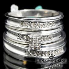 Ladies Men's White Gold Finish Genuine Real Diamond Wedding Bridal Trio Ring Set