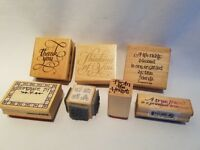 Lot of 7 Words Phrases Wood Mounted Rubber Stamps Homemade By Thank You Friends
