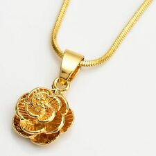 """Flower Pendant 18k Yellow Gold Filled 18"""" Link Wedding Chain Womens Necklace Hot"""