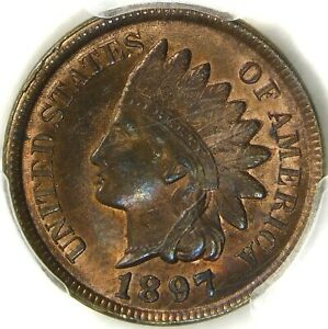 💚CAC💚🔥❤️🤎 PCGS 1897 MS64 RBINDIAN HEAD CENT