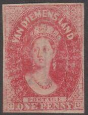 Tasmania 1857-67 Numeral Wmk 1d carmine Chalon unused, complete margins.
