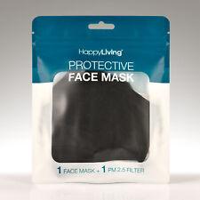 Face Mask 100% Cotton w/ Filter Pocket Cloth Unisex Reusable Washable Black 1 PC