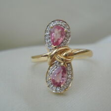 Certified 'Lance Fisher' Padparadscha Sapphire & SI 14k Diamond Gold Ring
