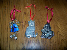 3 CHRISTMAS ORNAMENTS  - STAINED GLASS ANGEL - GORHAM  SANTA - KITTY CAT -