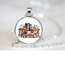 Farm Selfie PENDANT NECKLACE Chain Glass Tibet Silver Jewellery