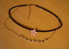 Dubbele zwart goudkleurige choker ketting met roze bloem hanger NIEUW