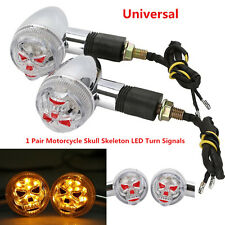 Chrome/Amber Motorcycle 3D Skull Skeleton LED Turn Signal Light Custom Parts