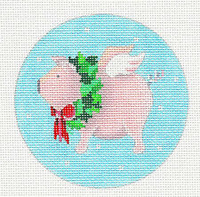 *NEW* Flying Christmas Pig w/ Wreath handpainted Needlepoint Canvas Pepperberry