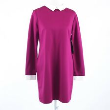 Fuchsia pink white stretch CYNTHIA STEFFE long sleeve shift dress 10 NWT $198.00