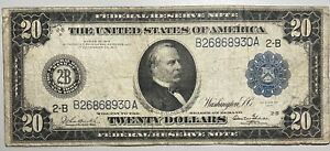 1914 $20 Large Size Federal Reserve Note New York Blue Seal