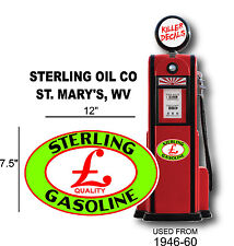 """12"""" 1946-60 STERLING GASOLINE DECAL FOR OIL CAN / GAS PUMP / LUBSTER"""