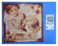 """Targa vintage """"Angeli con ciotola, rose rosse"""", metallo, cm 30x30"""